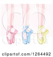 Feet Of Dancing Ballerinas In Pink Blue And Green Satin Slippers Over Pink And White