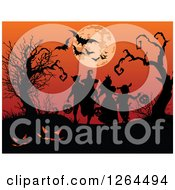 Clipart Of Silhouetted Children Trick Or Treating Against A Full Moon And Bats In An Orange Sky Royalty Free Vector Illustration
