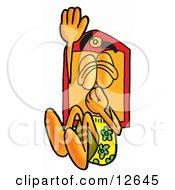 Clipart Picture Of A Price Tag Mascot Cartoon Character Plugging His Nose While Jumping Into Water by Toons4Biz