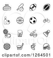 Clipart Of Black And White Sports Equipment Icons Royalty Free Vector Illustration