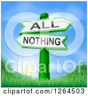 Clipart Of 3d All Or Nothing Signs Over Hills And A Sunrise Royalty Free Vector Illustration by AtStockIllustration