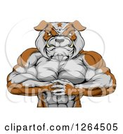 Clipart Of A Muscular Bulldog Man Punching One Fist Into A Palm Royalty Free Vector Illustration by AtStockIllustration