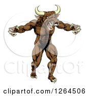 Clipart Of A Mad Brown Bull Man Monster Mascot Attacking Royalty Free Vector Illustration