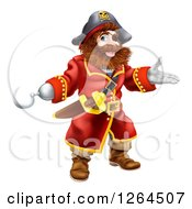 Clipart Of A Presenting Pirate Captain With A Hook Hand And Eye Patch Royalty Free Vector Illustration