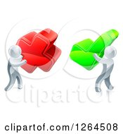 Clipart Of 3d Right And Wrong Silver Men With X And Check Marks Royalty Free Vector Illustration by AtStockIllustration