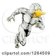 Clipart Of An Aggressive Muscular Duck Man Mascot Running Royalty Free Vector Illustration