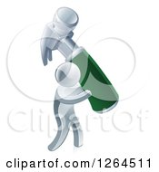 Clipart Of A 3d Silver Man Carrying A Giant Green Handled Hammer Royalty Free Vector Illustration