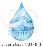 Clipart Of A 3d Earth In A Water Droplet Royalty Free Vector Illustration