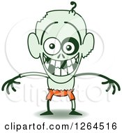 Clipart Of A Halloween Zombie Grinning From Embarrassment Royalty Free Vector Illustration by Zooco