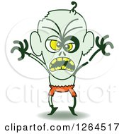 Clipart Of A Halloween Zombie Being Scary Royalty Free Vector Illustration by Zooco