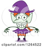 Clipart Of A Halloween Witch Grinning From Embarrassment Royalty Free Vector Illustration by Zooco