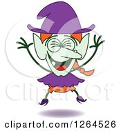 Clipart Of A Halloween Witch Laughing Royalty Free Vector Illustration by Zooco