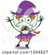 Clipart Of A Scared Halloween Witch Crying Royalty Free Vector Illustration by Zooco