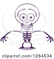 Clipart Of A Halloween Skeleton Grinning From Embarrassment Royalty Free Vector Illustration by Zooco
