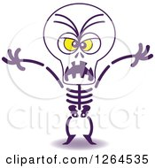 Clipart Of A Halloween Skeleton Being Scary Royalty Free Vector Illustration