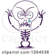 Clipart Of A Sad Halloween Skeleton Crying Royalty Free Vector Illustration by Zooco