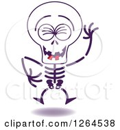 Clipart Of A Halloween Skeleton Laughing Royalty Free Vector Illustration by Zooco