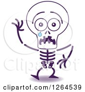 Clipart Of A Scared Halloween Skeleton Crying Royalty Free Vector Illustration by Zooco
