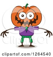 Clipart Of A Halloween Scarecrow Grinning From Embarrassment Royalty Free Vector Illustration