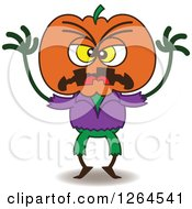 Clipart Of A Halloween Scarecrow Being Scary Royalty Free Vector Illustration
