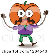Clipart Of A Furious Halloween Jackolantern Scarecrow Royalty Free Vector Illustration