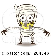 Clipart Of A Halloween Mummy Grinning From Embarrassment Royalty Free Vector Illustration