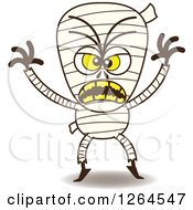 Clipart Of A Halloween Mummy Being Scary Royalty Free Vector Illustration by Zooco