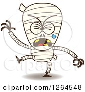 Clipart Of A Sad Halloween Mummy Crying Royalty Free Vector Illustration