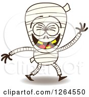 Clipart Of A Halloween Mummy Laughing Royalty Free Vector Illustration