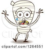 Clipart Of A Scared Halloween Mummy Crying Royalty Free Vector Illustration