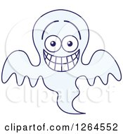 Clipart Of A Halloween Ghost Grinning From Embarrassment Royalty Free Vector Illustration by Zooco