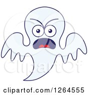 Clipart Of A Furious Halloween Ghost Royalty Free Vector Illustration by Zooco
