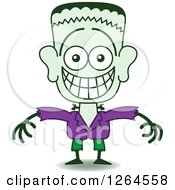 Clipart Of A Halloween Frankenstein Grinning From Embarrassment Royalty Free Vector Illustration by Zooco