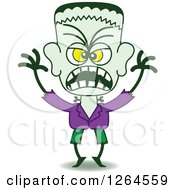 Clipart Of A Halloween Frankenstein Being Scary Royalty Free Vector Illustration by Zooco