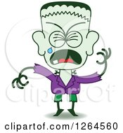 Clipart Of A Halloween Frankenstein Crying Royalty Free Vector Illustration by Zooco