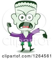 Clipart Of A Halloween Frankenstein Furiously Waving A Fist Royalty Free Vector Illustration by Zooco