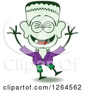 Clipart Of A Halloween Frankenstein Laughing Royalty Free Vector Illustration by Zooco