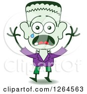 Clipart Of A Scared Halloween Frankenstein Crying Royalty Free Vector Illustration by Zooco