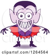 Clipart Of A Halloween Dracula Vampire Grinning From Embarrassment Royalty Free Vector Illustration by Zooco
