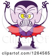Clipart Of A Halloween Dracula Vampire Being Scary Royalty Free Vector Illustration by Zooco