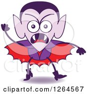Clipart Of A Halloween Dracula Vampire Furiously Waving A Fist Royalty Free Vector Illustration by Zooco