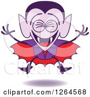 Clipart Of A Halloween Dracula Vampire Laughing Royalty Free Vector Illustration by Zooco