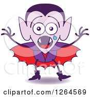 Clipart Of A Scared Halloween Dracula Vampire Crying Royalty Free Vector Illustration by Zooco