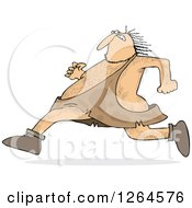 Clipart Of A Hairy Caveman Running Royalty Free Vector Illustration