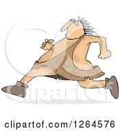 Clipart Of A Hairy Caveman Running Royalty Free Vector Illustration by djart