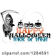 Clipart Of A Grim Reaper And Pumpkins Over Happy Halloween Trick Or Treat Text Royalty Free Vector Illustration by Vector Tradition SM