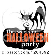 Clipart Of A Black Cat With This Weekend Halloween Party Text On A Pumpkin Royalty Free Vector Illustration by Vector Tradition SM