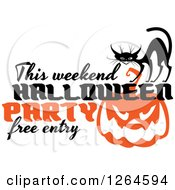 Clipart Of A Black Cat With This Weekend Halloween Party Free Entry Over A Pumpkin Royalty Free Vector Illustration by Vector Tradition SM