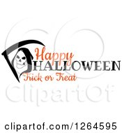 Clipart Of A Grim Reaper With Happy Halloween Trick Or Treat Text Royalty Free Vector Illustration by Vector Tradition SM