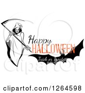 Clipart Of A Grim Reaper And Bat With Happy Halloween Trick Or Treat Text Royalty Free Vector Illustration by Vector Tradition SM